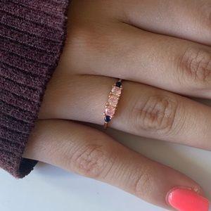 Delicate Pink Zircon and Sapphire Blue Zircon Ring